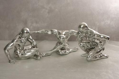 Männer-Skulpuren silber 3teilig Set