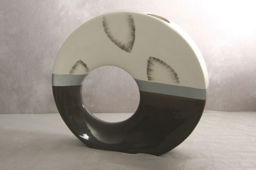 Vase creme/grau