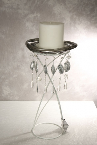 Bondenständer metall weiß incl. Teller und Kerzen