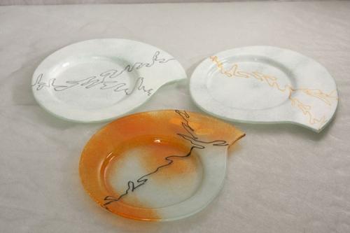 Glasschale  24x24 cm weiß-gold rund