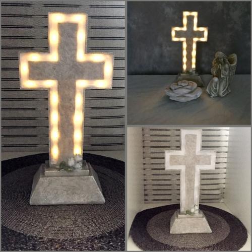 Kreuz mit Engel und Steinrose 3-teilg