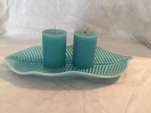 Keramikschale MINT mit 2 Kerzen