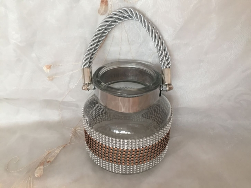 Glas-Windlicht Crystal silber/bronze