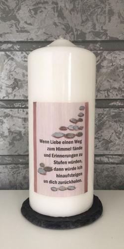 Gedenkkerze 200x80  Wenn Liebe einen Weg...