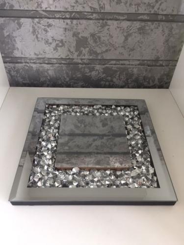 SPIEGEL-Dekoteller 20x20 cm mit Glassteine