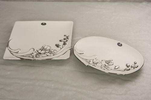 Keramikteller ROSE QUADRAT weiß - silber