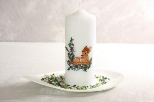 BAMBI    Kerze mit Teller und Steine