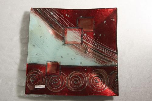 Glasschale Rot Silber