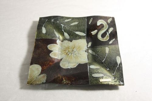 Glasschale Braun Grün Silber